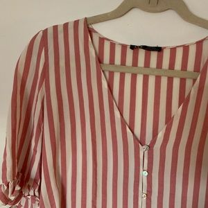 Zara Tops - Zara Pink and White Striped Top